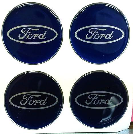 Kit de 4 pegatinas para tapacubos resinadas Ford efecto 3D de 55 mm Classico