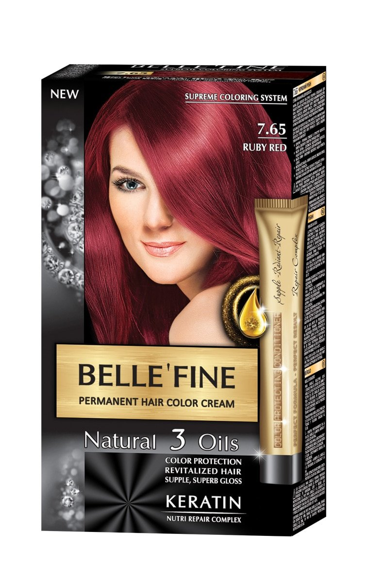 BELLE'FINE® Black Series - Crema lusso naturale per tinta capelli permanente - con 3 oli e cheratina - CASTANO-VIOLA STS