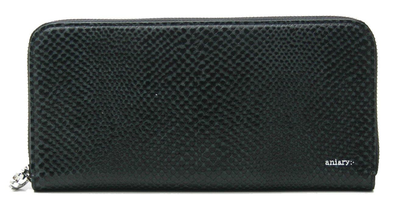 アニアリ 長財布 aniary ラウンドファスナー Scale Leather 18-20003 B07C8GLTRC ブラック ブラック