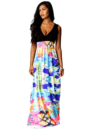 2b69dcf2d27 ROIII Women Abstract Print Muti Color V neck Cocktail Party Evening Dress   Amazon.co.uk  Clothing