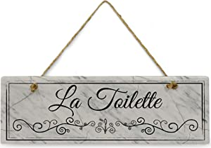 """La Toilette Marble Bathroom Sign 11 3/4"""" x 4"""" x 5/16""""Home Décor Collection Ceramic with Design Rectangle Bathroom Wall Plaque, Bathroom Wall Décor, Bathroom Décor Wall Art"""