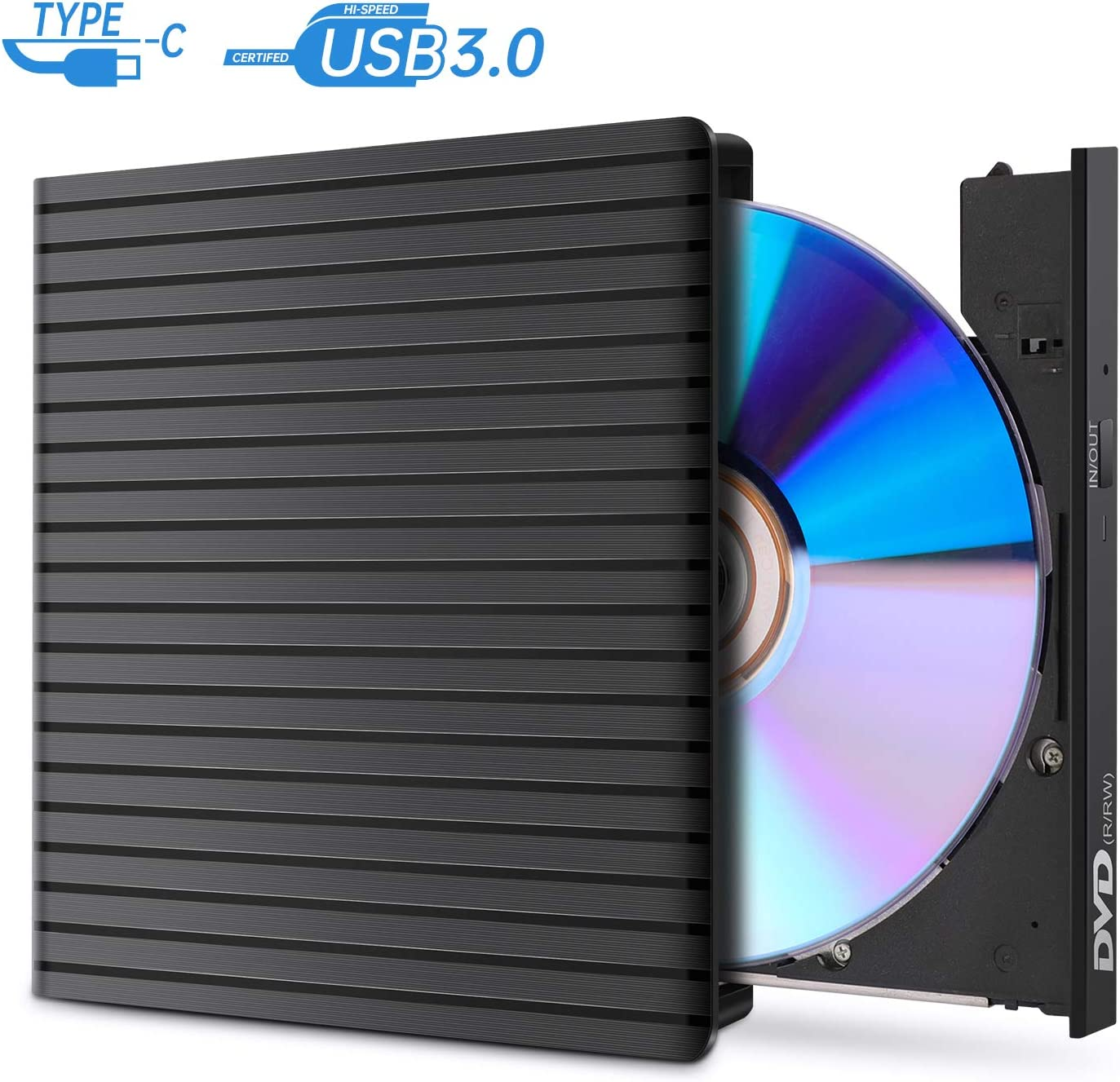 External CD DVD Drive, USB 3.0 and Type-C DVD Drive RW Optical CD Drive Reader Writer Burner for PC Laptop Desktop Mac Windows Linux