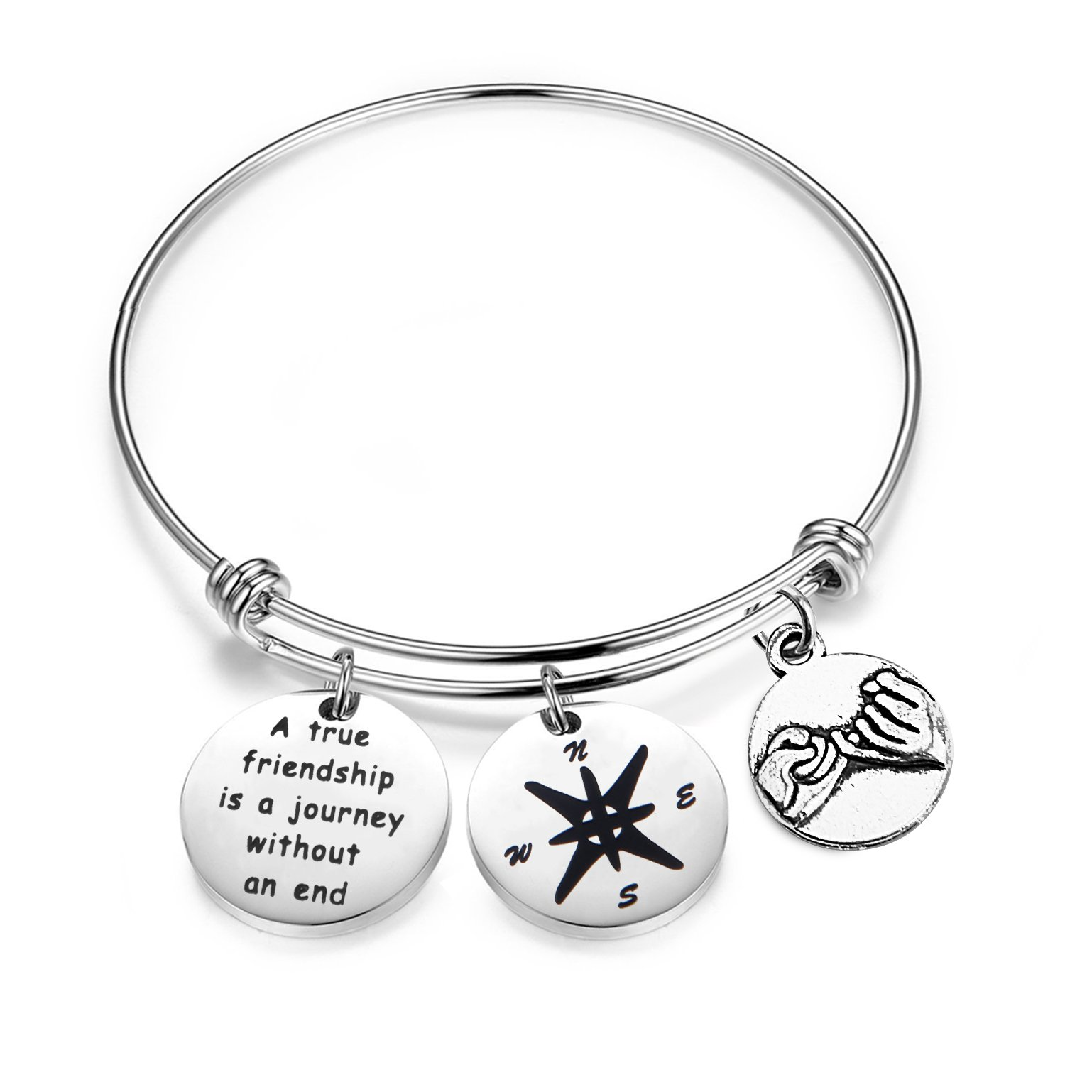 bobauna A True Friendship is A Journey Without an End Bracelet with Compass Pinky Promise Charms Best Friend Gift