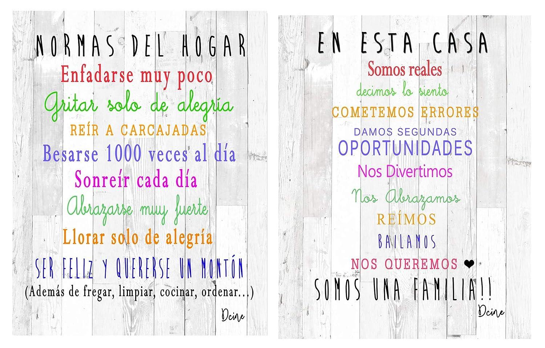 Dcine Set 2 Cuadros Decorativos Frases positivas/Normas del ...