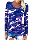 Moon Angle Womens Long Sleeve T-Shirts Casual Camouflage Printed O-Neck Tops Plus Size