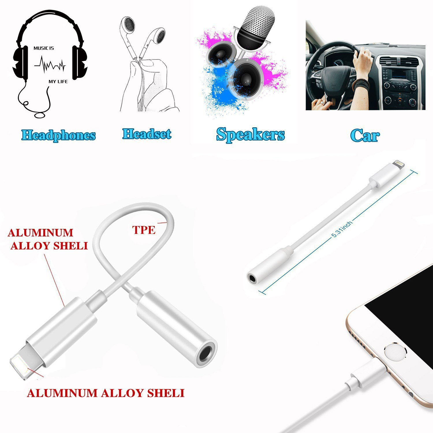 Lightning Jack Adapter,Lightning to 3.5 mm Headphone Jack Adapter Lightning Connector to 3.5mm AUX Audio Jack Earphone Extender Jack Stereo for iPhone X iPhone 8/8Plus iPhone 7/7Plus Support IOS 11 by iNassen (Image #6)