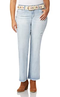 448b7e0be041 WallFlower Women s Plus Size Classic Fit Belted Stretch Legendary Bootcut  Jeans