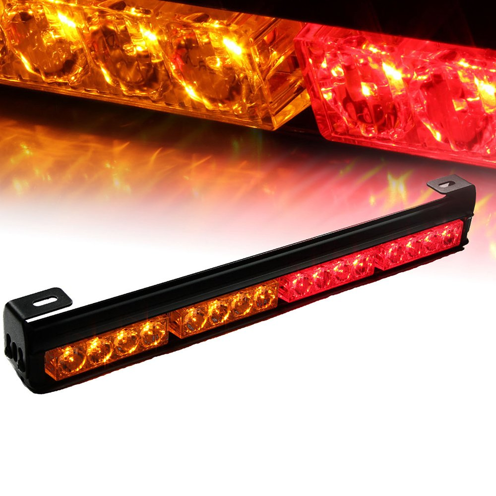 Xprite 18' 16 LED Emergency Warning Traffic Advisor Vehicle LED Strobe Light Bar - White & Amber Yellow 52023-4-WY-2