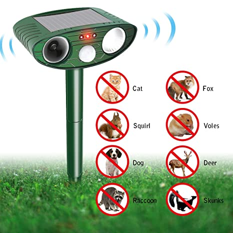 Focuspet Animal Repelente Solar Animal Repelente Ultrasonido para Ahuyentar Animales Defensas y Luz Flash para Perros