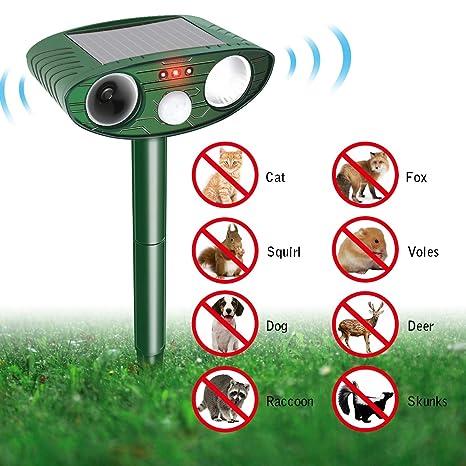 Focuspet Animal Repelente Solar Animal Repelente Ultrasonido para Ahuyentar Animales Defensas y Luz Flash para Perros
