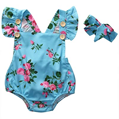 41afeaae68c0 Charm Kingdom Newborn Kids Baby Girls Clothes Floral Buttons Ruffles Jumpsuit  Romper Playsuit + Headband Outfits