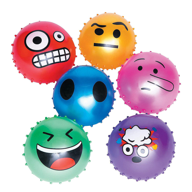 Fun Express - 5 in Emoji Series 2 Spike Balls - Toys - Balls - Misc Balls - 12 Pieces by Fun Express