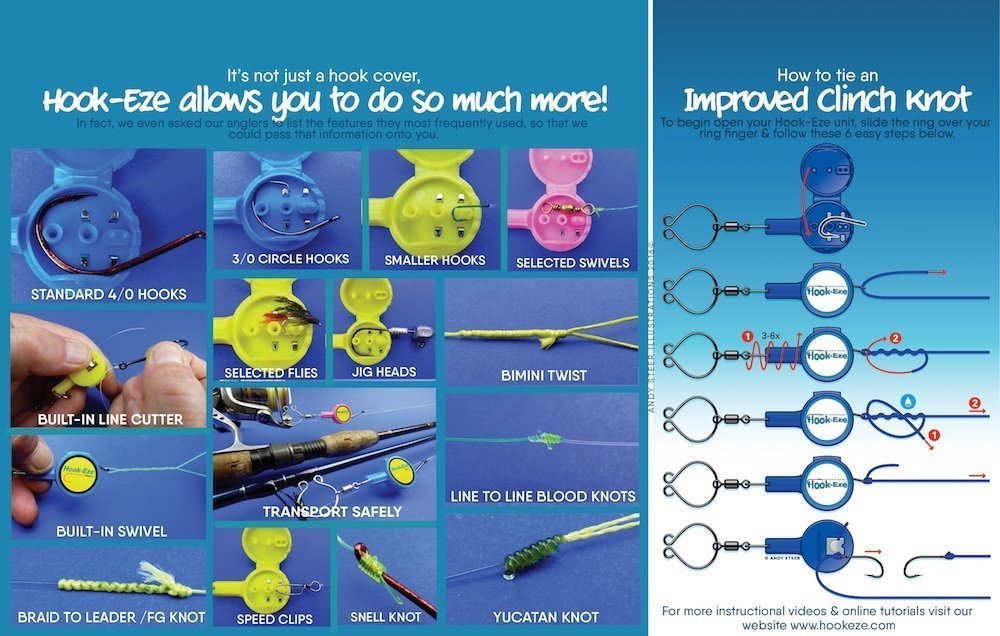 Hook-Eze Fishing Tool - 3 Twin Pack - Hook Tying & Safety Device + ...