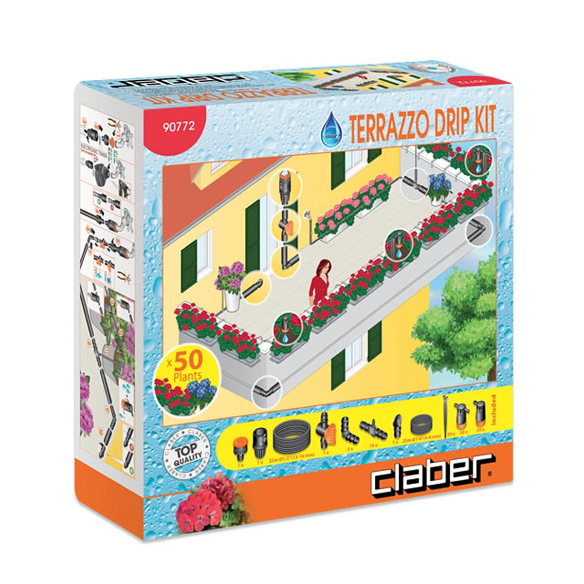 Claber Terrazzo Drip Irrigation Kit for 50 plants - model 90772 D90772000