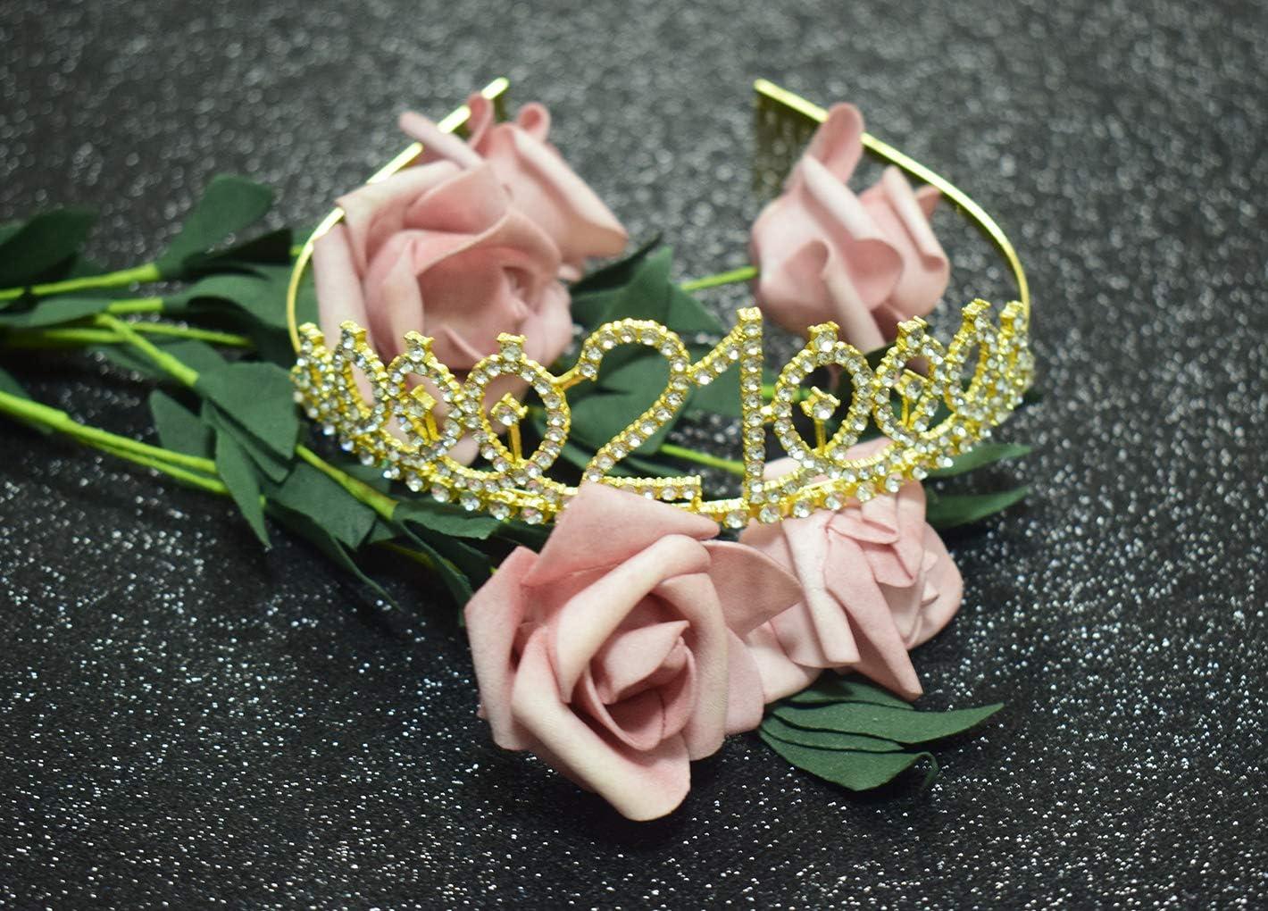 21st Birthday Party Supplies 21st Birthday Gold Tiara and Black Sash Kit Rhinestone Princess Crown and Glitter Satin Sash for Happy Birthday Party Favors Decorations