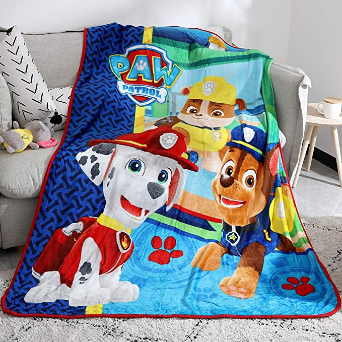 "Amazon.com: FairyShe Paw Patrol Blanket Cartoon Kids Plush Throw Blankets Soft Warm Baby Fleece Blanket Plush Sheet,40"" x 55"" Coral Velvet Blanket for Crib Bed Couch Chair Living Room (Paw): Home & Kitchen"