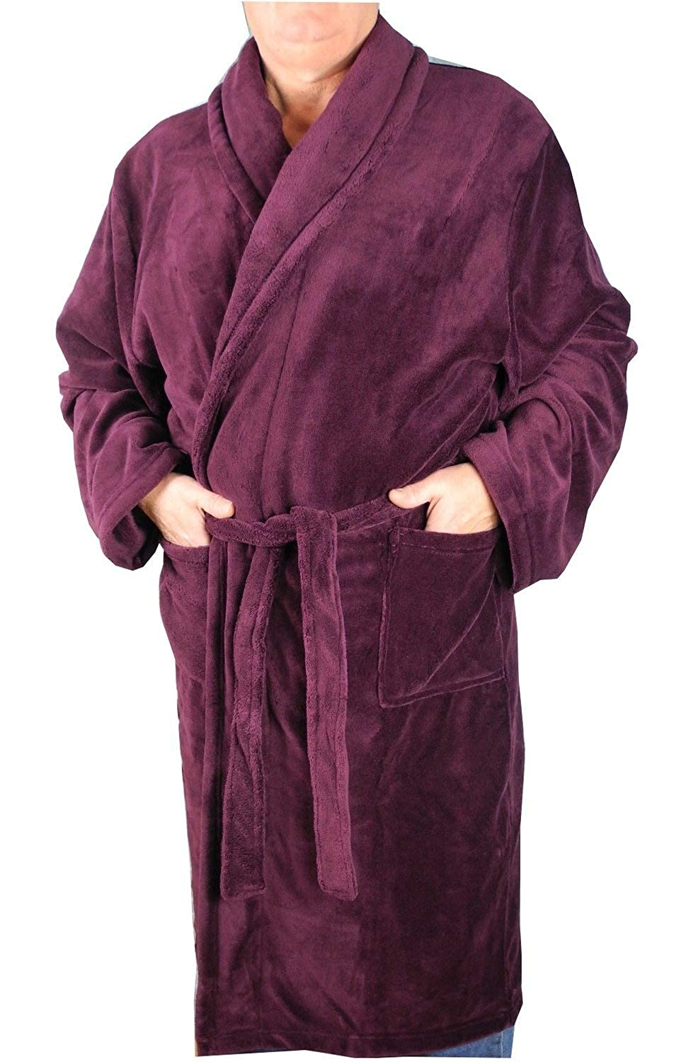 Mens Kingsize Big Size Soft Warm Fleece Dressing Gown Robe Burgundy Size 2XL-8XL Espionage