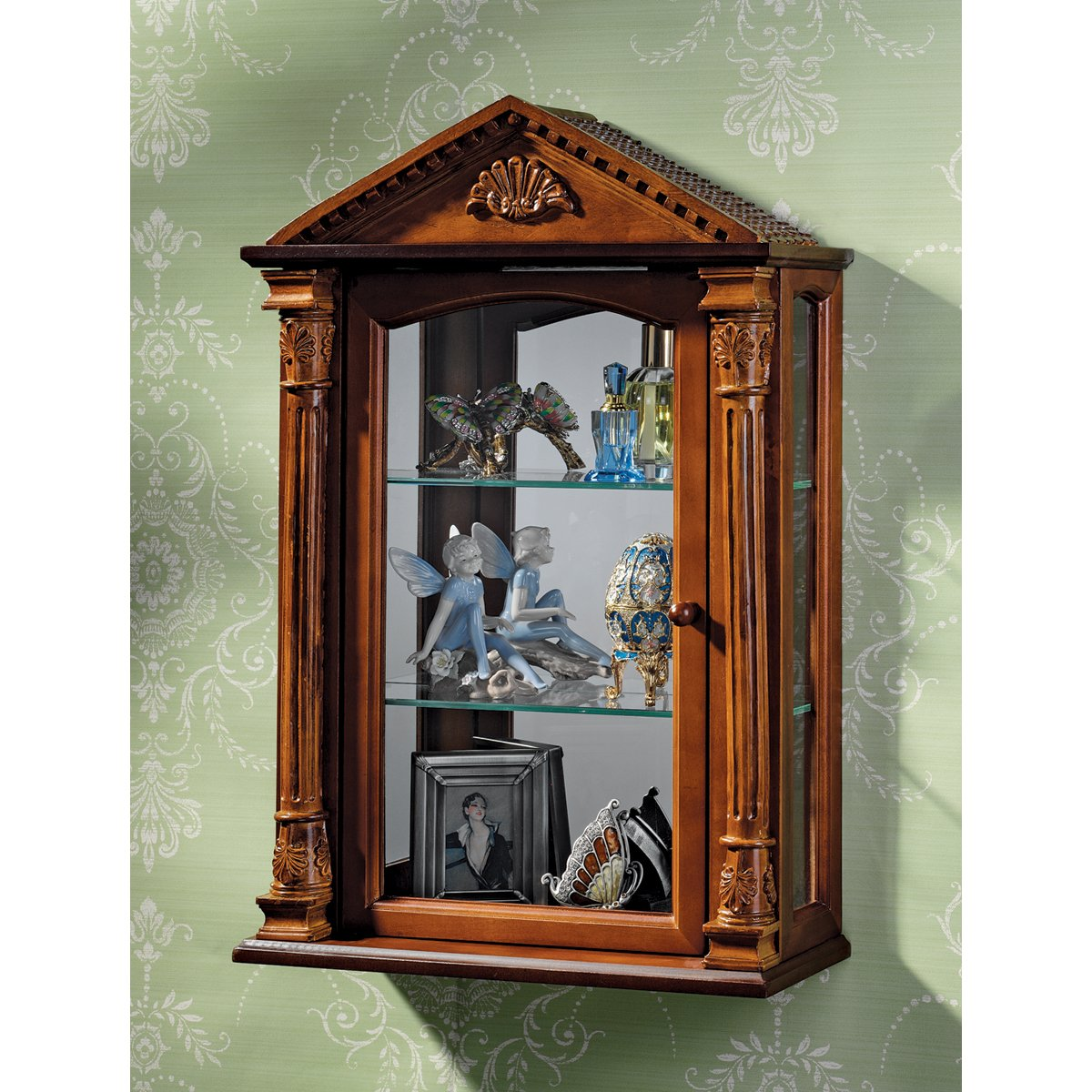 Amazon.com: Glass Curio Cabinets   Essex Hall   Wall Mounted Curio Cabinet:  Kitchen U0026 Dining