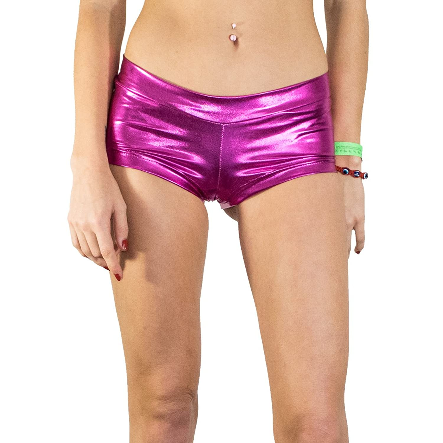 Short Shiny Booties, Women's Breathable Party Swim Yoga Shorts : Pink Panther