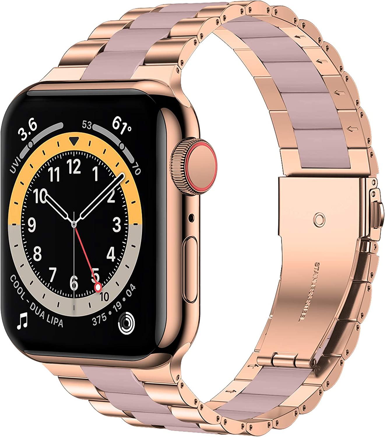 iiteeology Compatible with Apple Watch Band 44mm 42mm, Resin Stainless Steel Metal Link Wristbands for iWatch SE Series 6 5 4 3 2 1 - Rose Gold+Pink