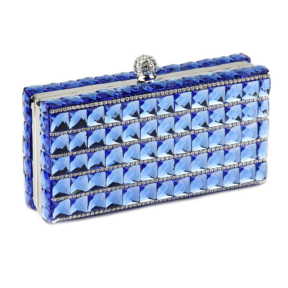 Women Evening Clutch Purse Bag Rhinestone Crystal Glass Crossbody Shoulder Handbag (Blue)