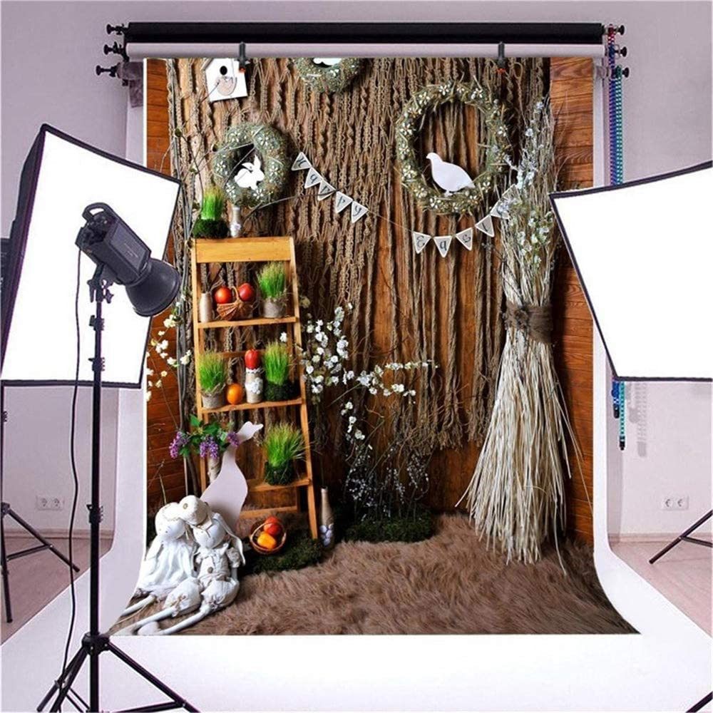 6.5x10ft Polyester Happy Easter Photography Background Countryside Style Indoor Easter Decorations Rustic Wall Carpet Wicker Egg Wreath Backdrop Child Kids Baby Shoot Easter Egg Hunt Video Studio