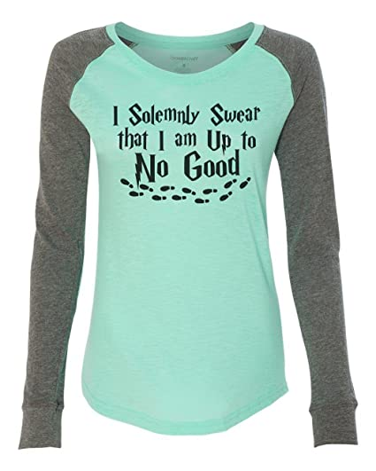 de771c95f5 Amazon.com: Womens Raglan I Solemnly Swear That I Am Up to No Good Patched  Long Sleeve: Clothing