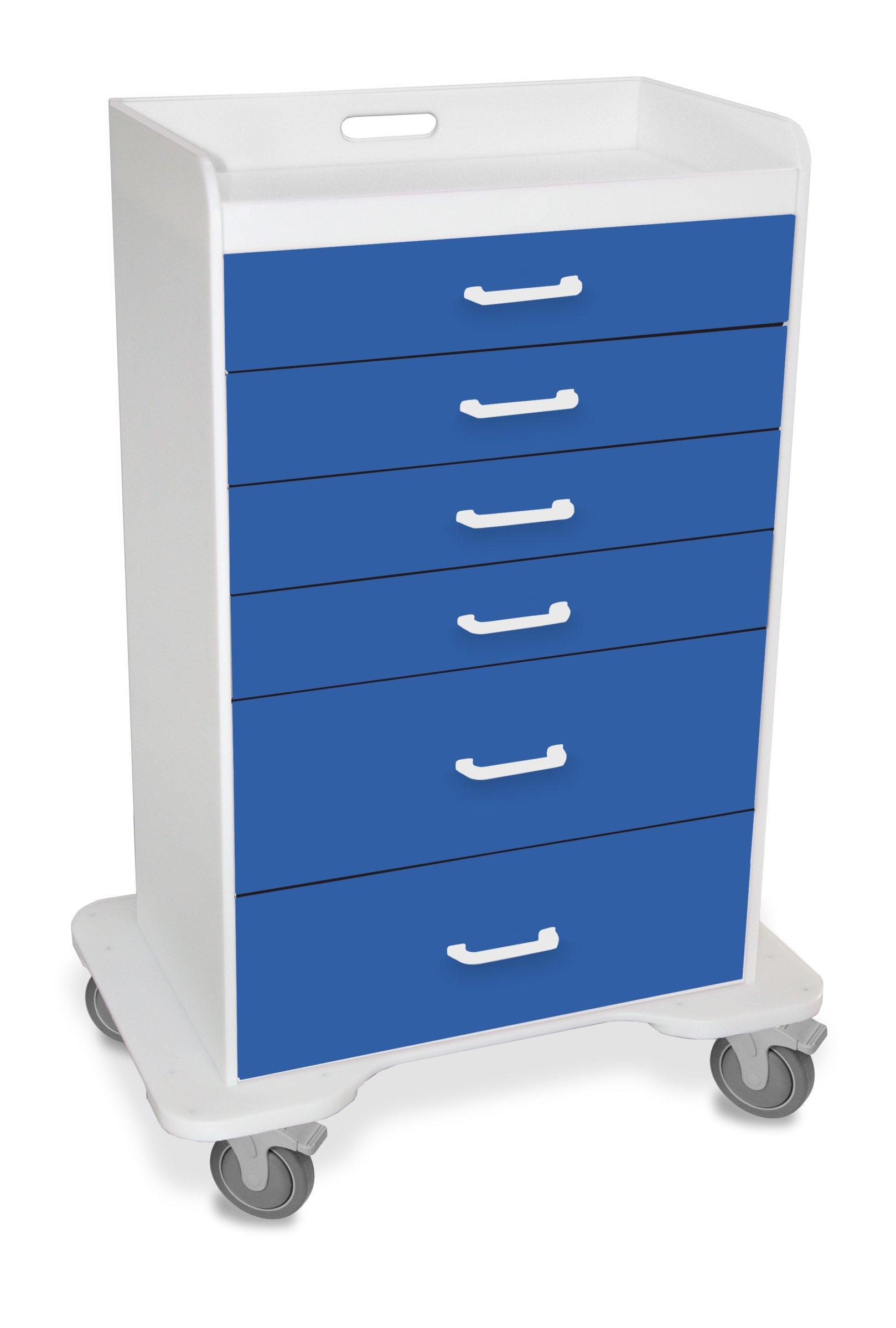 TrippNT 51071 Polyethylene Procedure Cart, Locking, 31'' Width x 48'' Height x 20'' Depth, 6 Drawers, Global Blue by TrippNT