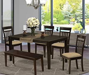 East West Furniture CAP6S-CAP-C Kitchen Table Set 6 Pc - Linen Fabric Kitchen Chairs Seat - Cappuccino Finish Dining Room Table and Kitchen Dining Bench