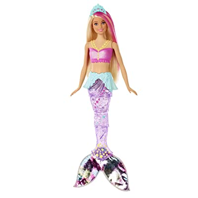 Barbie Dreamtopia Sparkle Lights Mermaid Doll with Swimming Motion and Underwater Light Shows, Approx 12-Inch with Pink-Streaked Blonde Hair, Gift for 3 to 7 Year Olds​​​: Toys & Games