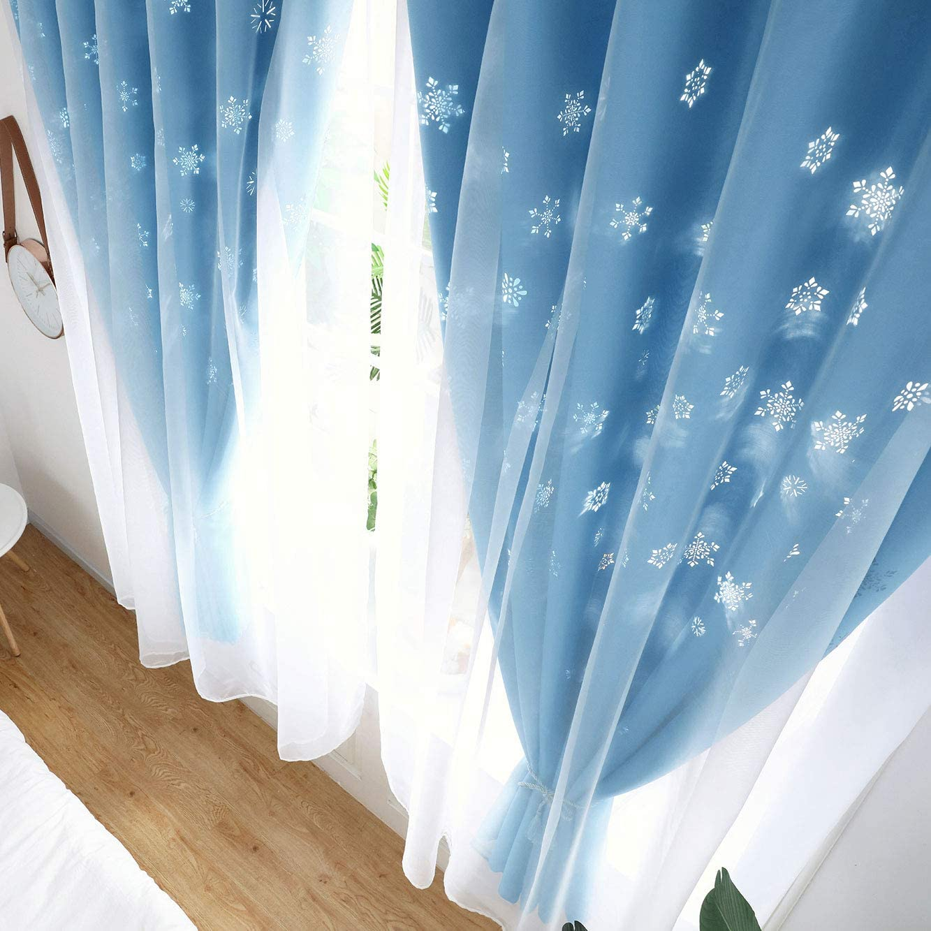 Hughapy Kids Blackout Curtains Tulle Overlay Snowflake Cutouts Curtain Double Layer Blackout Window Drape for Living Room Bedroom W59 x L79,Blue 1 Panel