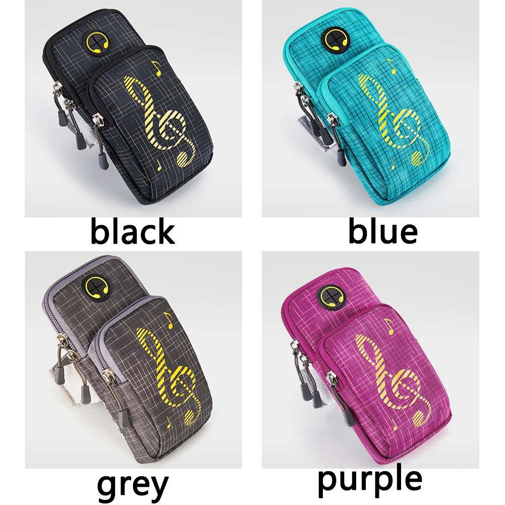 Purple Universal Double Pockets Running Gym Workout Water-Resistant Sports Armbands Cell Phone Bag Holder for All 5.4 to 6.2 Inch Mobile Phones Running Armband Phone Holder