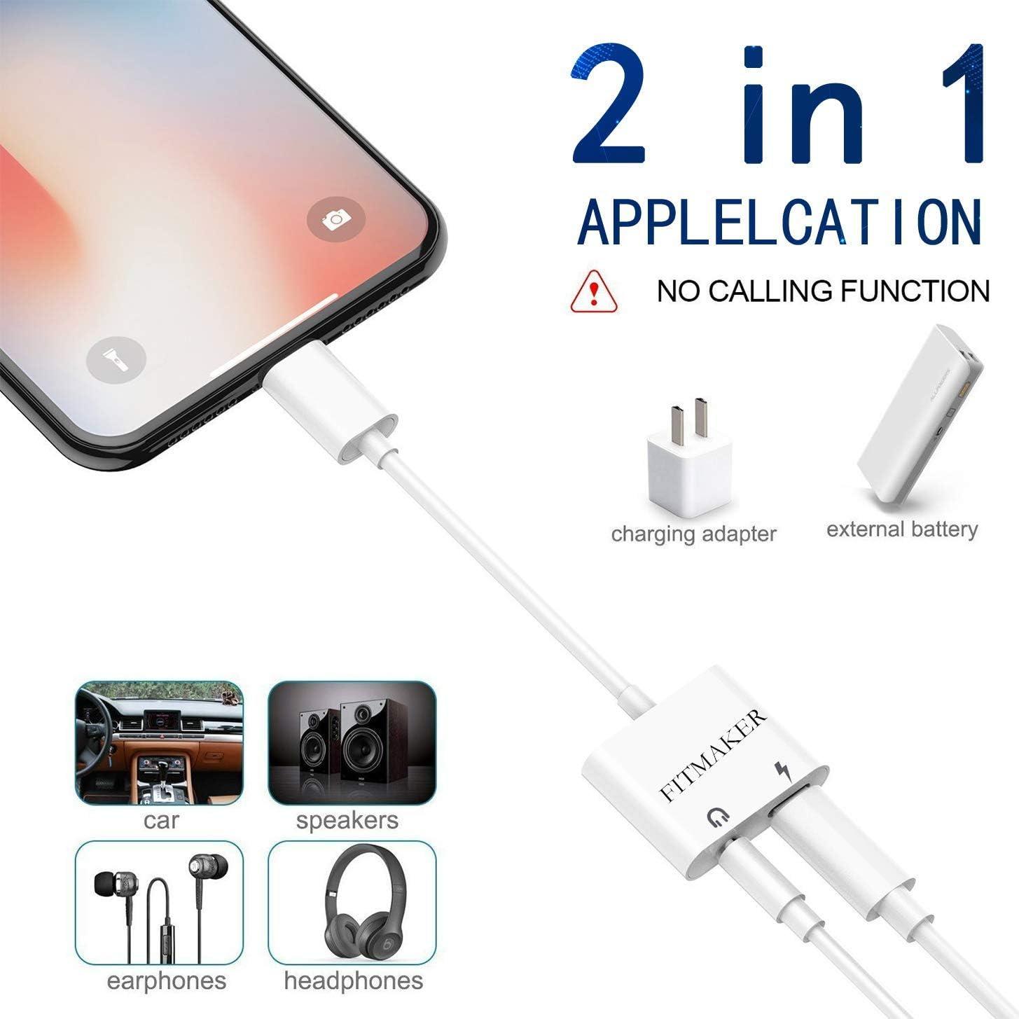FITMAKER Aux Earphones Stereo Jack Dual Headphone Audio /& Charge Adapter