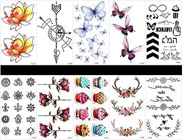 10 piezas de tatuajes de mariposa de tatuaje, impermeables y no ...