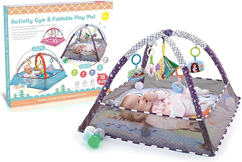 ampusanal Estimulando El Estera De Juego para Bebés con Red De Protección 3 En 1 Actividad De Bebé Gimnasio con 5 Juguetes para Colgar Y 18 Bolas De Océano Actividad Educativa para Bebés Mat amazing