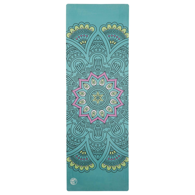 Silly.con Fit & Fun 14001 - Premium Yogamatte mit Tragegurt, jadegrün, mit Mandala - Motiv, aus Naturkautschuk + Mikrofaser, ca. 183 x 61 x 0,4 cm