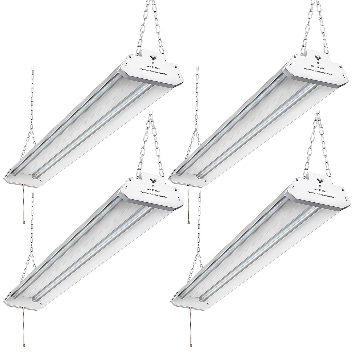 Utility Linkable LED Shop Light 4FT, Aluminum Housing, 42W (350W Equivalent) 4500LM 5000K Daylight White, with Pull Chain (ON/Off) Linear Worklight Fixture with Plug cETLus Listed, 4-Pack