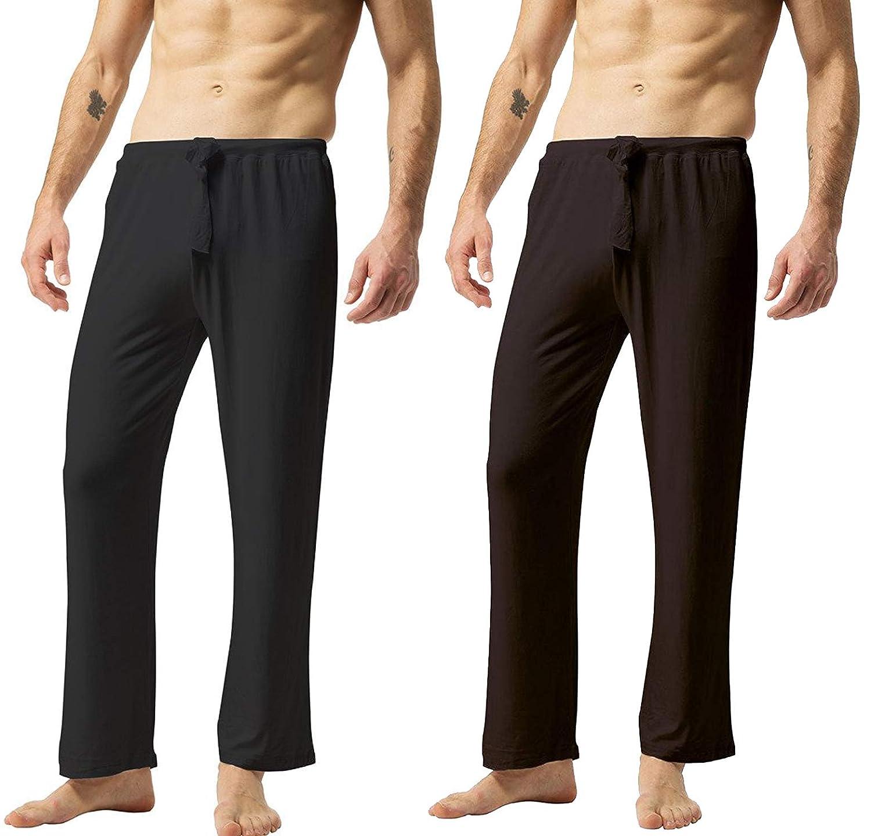 ZSHOW Men's Super Soft Yoga Pants Long Knit Slant Pockets Pajama Lounge Pants USZXHWA0006
