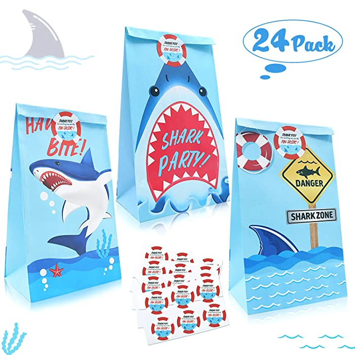 24 Packs Shark Goodie Candy Treat Bags, Shark Theme Party Favor Paper Gift Bags with Thank You Stickers, Kids Shark Theme Birthday Party Supplies