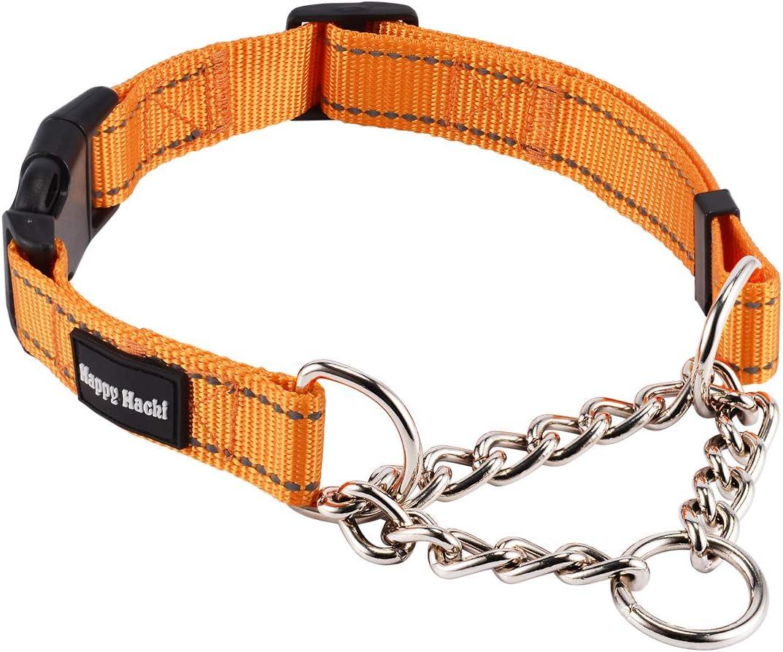 Kaka mall Collar Martingale Perro Medianos Grandes Reflectante Ajustable Robusto Seguro Cómodo para Adiestramiento Caminar Viaje Collar Estrangulador para Perros(Naranja,M)