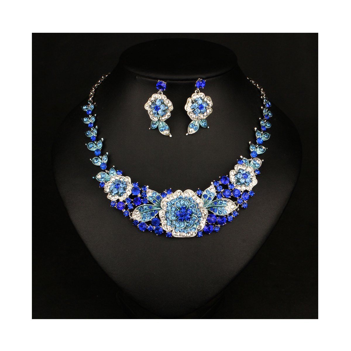 ENUUNO Costume jewelry Flowers Crystal Choker Pendant Statement Chain Charm Necklace and Earrings Sets Women (Blue, alloy)