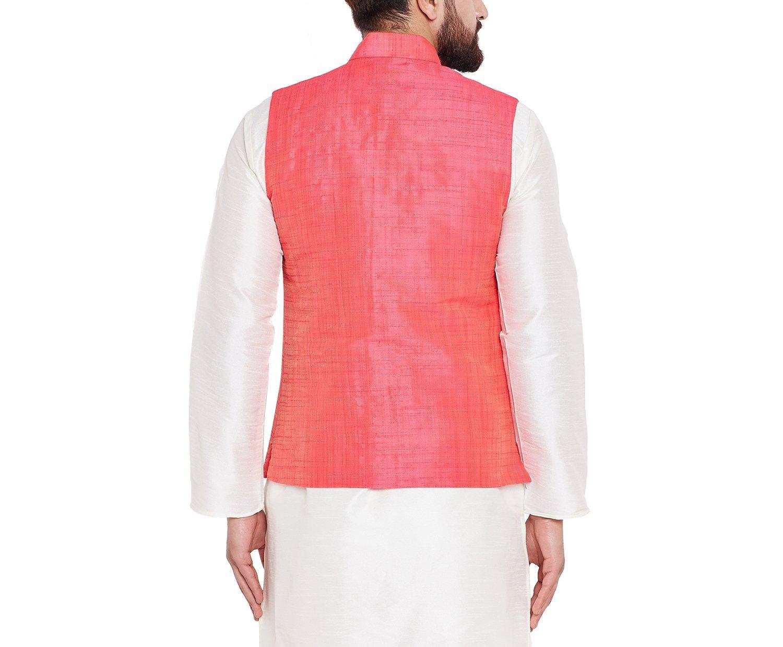 Sojanya Men's Dupion Silk Nehru Jacket Large Pink by Sojanya (Image #2)