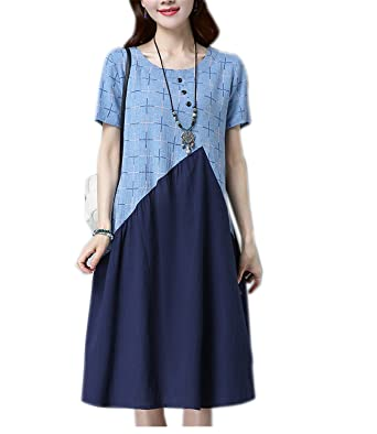 CuteStyleCiCi Fashion cotton linen vintage plaid women casual loose summer dress vestidos femininos party dresses light