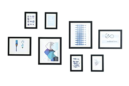 Amazon.com - WOOD MEETS COLOR Gallery Picture Frames Set of 8 With ...
