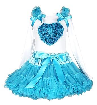 Valentine Dress Floral Heart White Cotton L//s Shirt Peacock Blue Skirt Set 1-8y