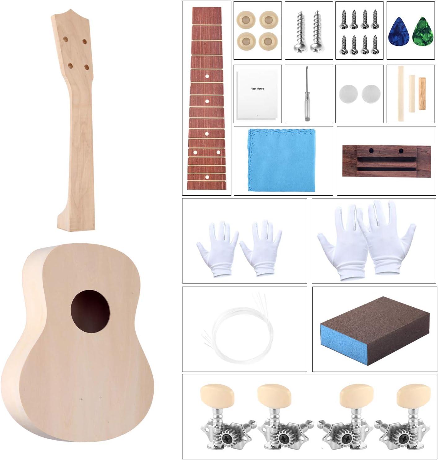 DIY Ukulele Kit Build Your Own Ukulele Kit Unfinished 21 Inch Hawaii Soprano Ukulele Kit with Installation Manual and Tools Kit