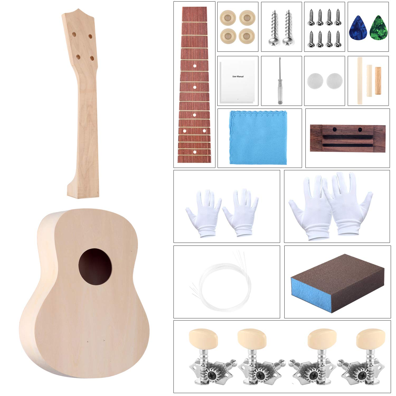 B07Z6NYMF6 DIY Ukulele Kit with Installation Tools Wooden Small Hawaiian Guitar Ukalalee for Kids Students Beginners 21inch 71dODovYCnL