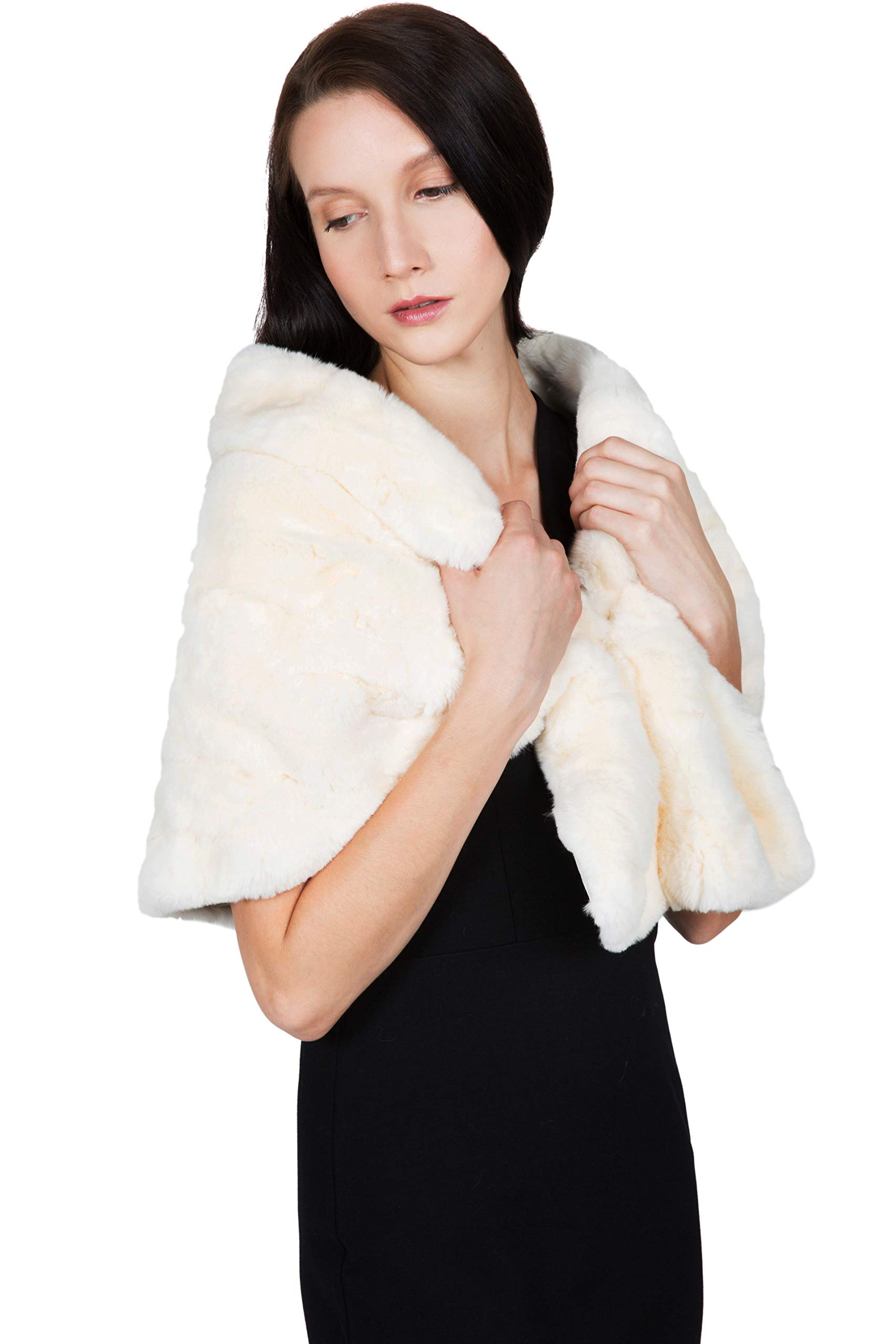 OBURLA Women's Rex Rabbit Fur Cape with Collar | Soft and Luxurious Real Fur Shawl Wrap Stole (Beige) by OBURLA (Image #3)