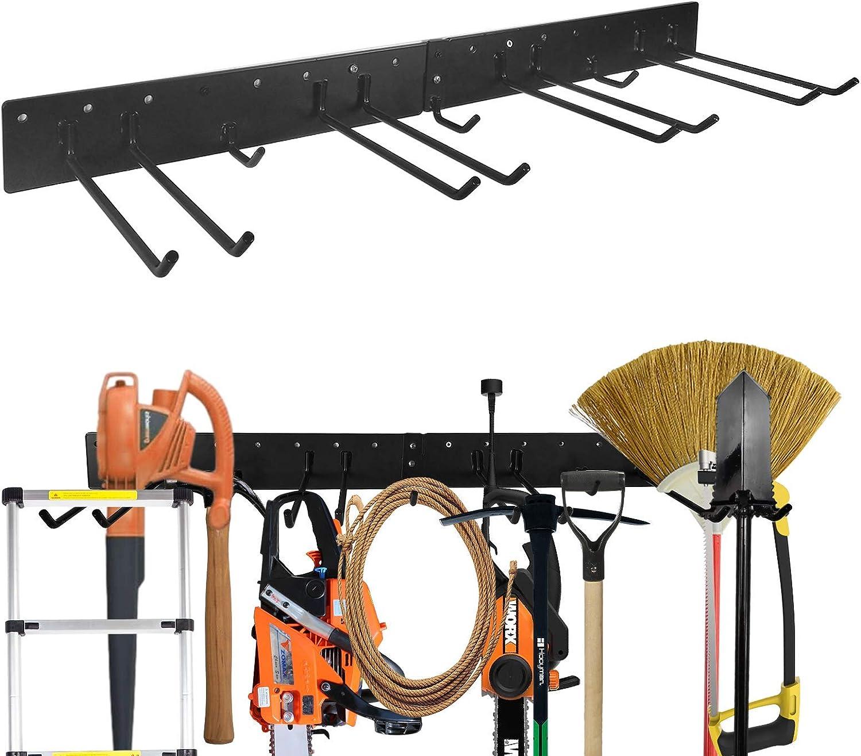 Garage Tool Rack Garden Tool Organizer Wall Mount, Heavy Duty Solid Steel Max 200 lbs Tool Hangers for Yard Tools, Shovels, Rakes, Brooms, Cords, Hoses, Ropes