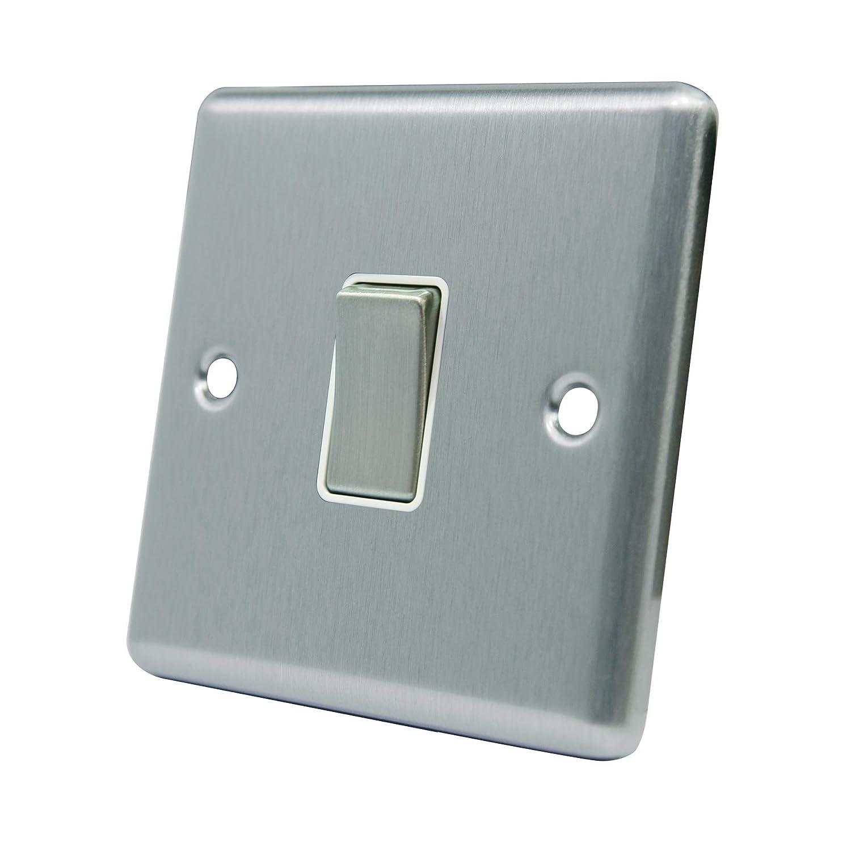 fused switch satin matt chrome square white insert metal rocker rh amazon co uk Double Pole Switch Fused Fused Disconnect